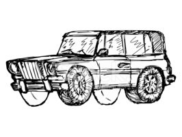 Sketch,Car,Remote,Isolated,...