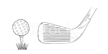 Sketch Of The Golf Ball And Golf Club Clipart Images