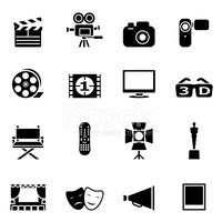 Set of black movie icons