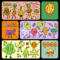 Doodle funny food banners. Vector illustration.