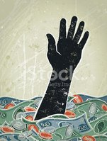 Human Hand,Sinking,Currency...
