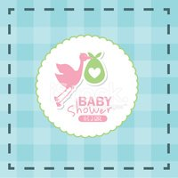 Baby,Stork,Rubber Stamp,Hol...