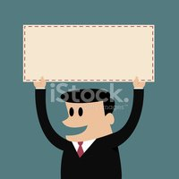 Happy businessman holds a blank sign.