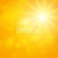 Shiny sun on orange background