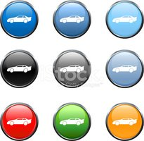 Sports car icon in nine colors