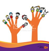 Cute happy cartoon kids on fingers. Vector illustration.