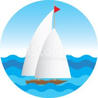 sea landscape with the yacht. vector illustration