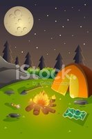 Camping,Night,Vector,Summer...