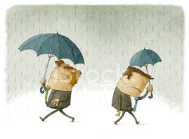 Men with big and small umbrellas