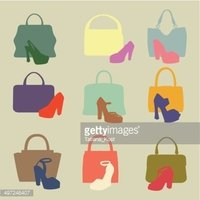 Colored silhouettes of  fashion women's handbag,high-heeled shoe