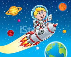 Rocket Kid Blasting Through Space