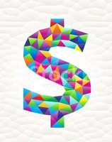 Dollar Sign on triangular pattern mosaic royalty free vector art