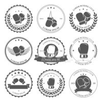 Boxing labels and badges set. Vector