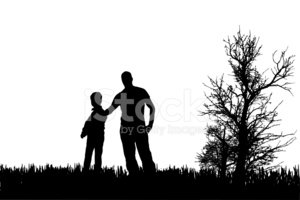 Silhouette,Son,Father,Adult...