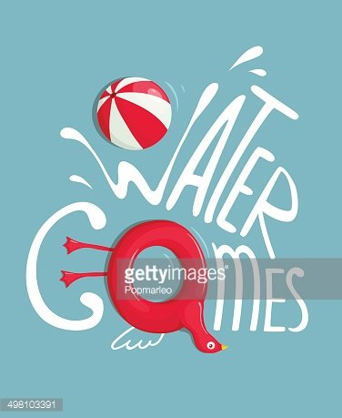 Water Games with Inflatables Lettering Poster