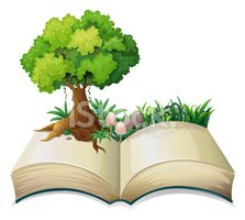 An open book with a tree