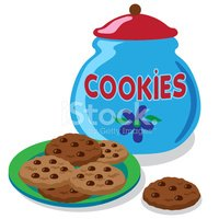 cookie jar and chocolate chip cookies