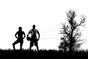 Playing,Silhouette,Football...