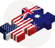USA and Australia Flags in puzzle