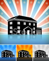 Commercial Residential Building Set with Stars