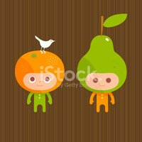 Friends for life bird fruit pear orange character illustration