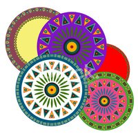 Bright circles decorated simple shapes
