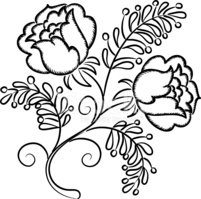 Hand drawn floral pattern isolated over white background