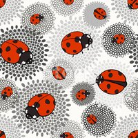 Seamless pattern with ladybugs on a monochrome floral background