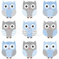 Owl,Chevron,Blue,Pattern,Sp...
