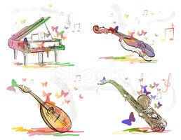 Violin,Cello,Piano Key,Acou...