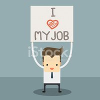 businessman with i love my job label