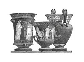 Ornamental Bowls made in Greece (antique engraving)