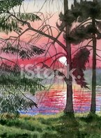 Sunset,Watercolor Painting,...