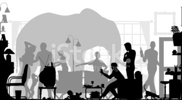 Domestic Room,Elephant,Silh...