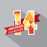 14th years anniversary celebration design stock photos clipart me