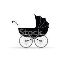 baby carriage vector illustration in black