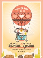 Cute Groom and Bride on Balloon Wedding invitation card