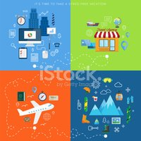 Winter vacation plan abstract vector card with flat icons