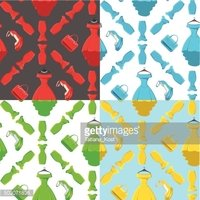 Fashion seamless pattern set.Colored coctail dress,handbags,shoe