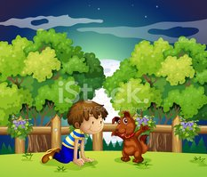Boy and his pet playing outdoor