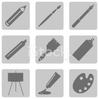 Pencil,Paintbrush,Symbol,Se...