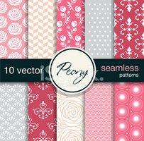 Ten seamless vector patterns. Floral theme.