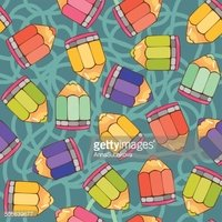 vector seamless pattern with colorful pencils