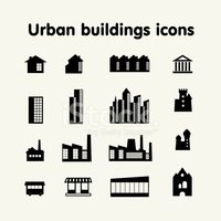 Urban buildings icons, housing, industry, commerce, attractions,