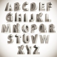 3D font, big white letters standing, vector eps 8.