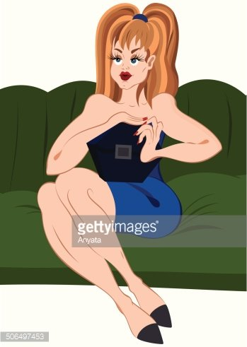 Cartoon girl in short  skirt sitting on green couch