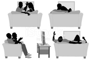 Watching TV,Silhouette,Coup...