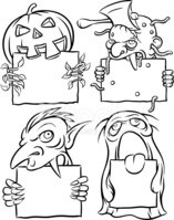 Whiteboard Drawing Halloween Monsters Clipart Images