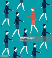 Vector Woman Walking Against the Crowd