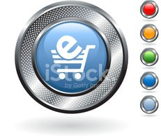 e-commerce, shopping cart royalty free vector art on metallic bu